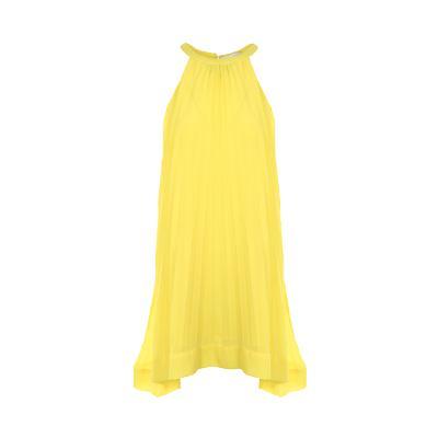 halter neck pleats dress yellow